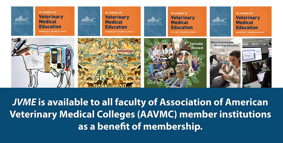 JVME is available to all faculty of Association of American Veterinary Medical Colleges (AAVMC) member institutions as a benefit of membership.